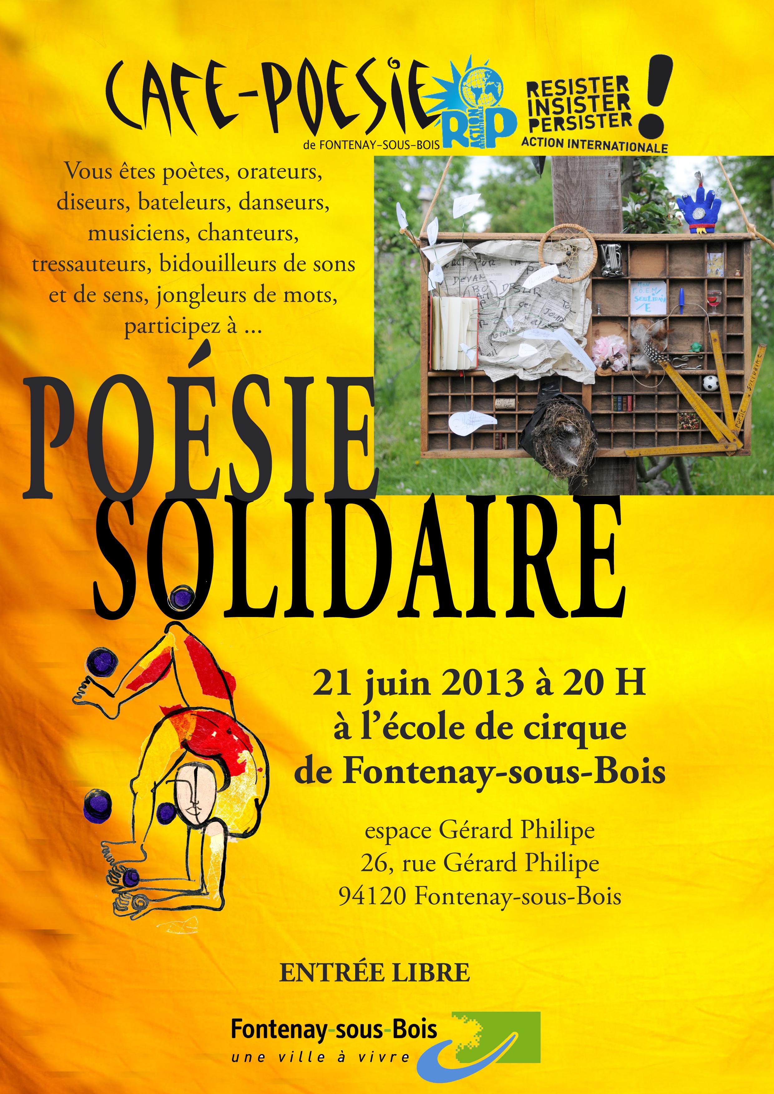 Un Café-Poésie dans un cirque où se mélangent les numéros de cirque et les prestations poétiques - avec RIP - Ecole de Cirque de Fontenay & Café-Poésie - entrée libre - 20h